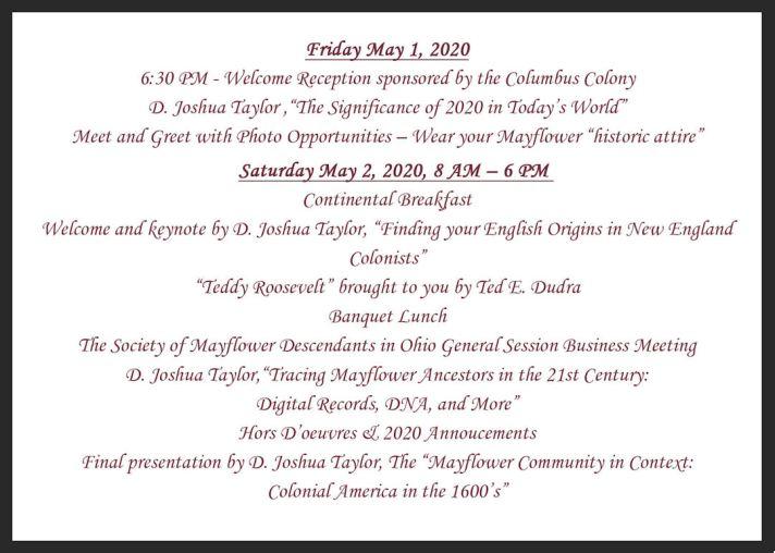 Society of Mayflower Descendants in Ohio 2020 Invite FRONT
