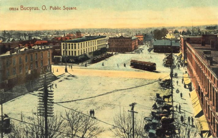 Postcard from 1908 of Downtown Bucyrus, Ohio